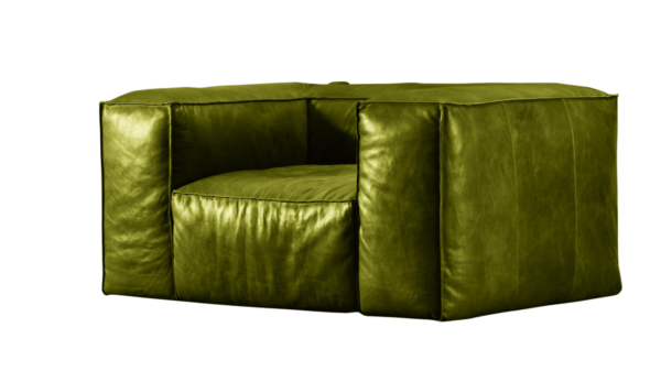 Green Color Leather Sofa Without Arm Handmade