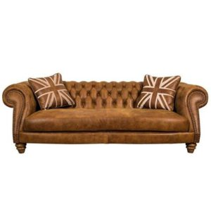 Handcrafted Brown Color Chester Field Three Seater Sofa