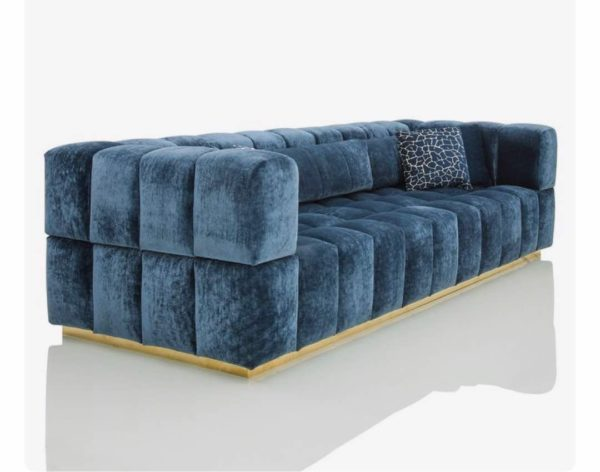 Handmade blue Stylish Valvet Three Seater Sofa