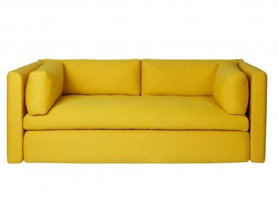 Simple Handmade Mango Yellow Sofa With Broad Arms