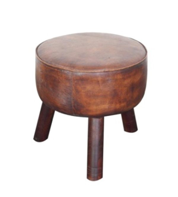 Handmade Brown Colored Round Stool