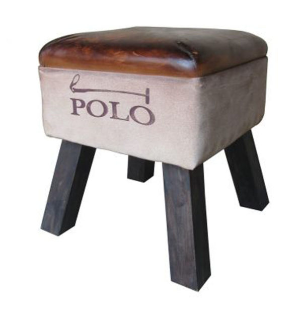 Leather With Side Canvas Stool For Living Room