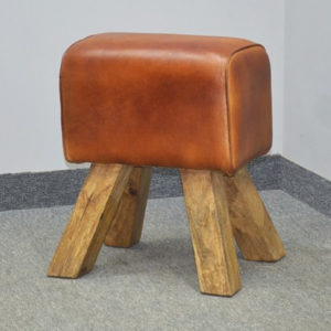 Leather Stool With Natural Wood Legs