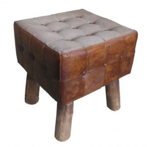 Handmade Chester Field Leather Square Stool