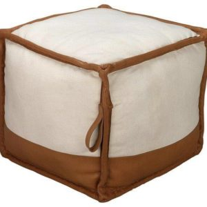 Handmade Leather Pouf In White & Brown Color