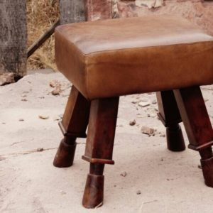 Handmade Leather Stool With Designer Legs