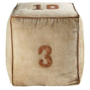 Handmade Canvas Fabric With Leather Piping Pouf With Numeric Design