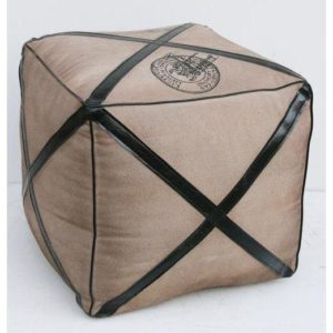 Handmade Canvas Pouf With Leather Strips Stylish Design
