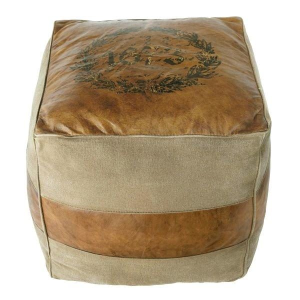 HandiCraft Vintage Look Pouf With Leather Sitting