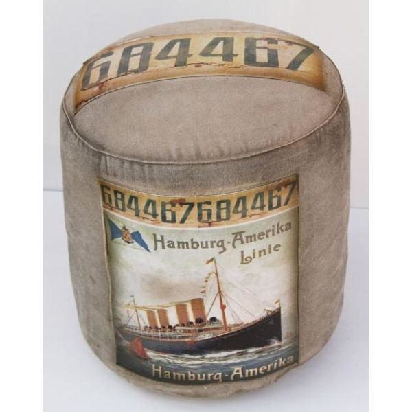 Vintage Look Handmade Canvas Pouf With Patch Work