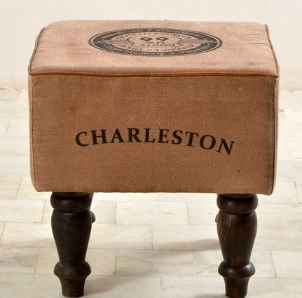Square Canvas Stool With Wooden Legs