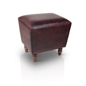 Handmade Dark Brown Colored Stool With Wooden Legs