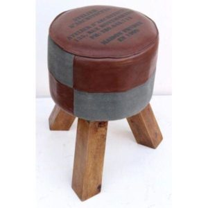 Handmade Leather Stool With Checks Design Stool
