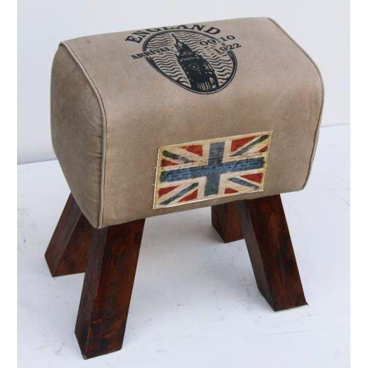 Handmade leather mix canvas stool with wooden legs