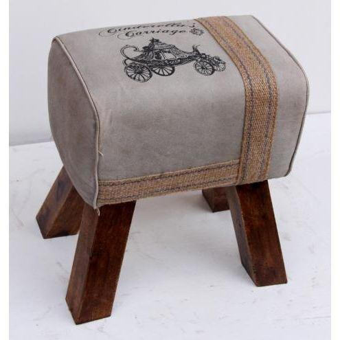 Stylish Leather Stool With Leather Strip