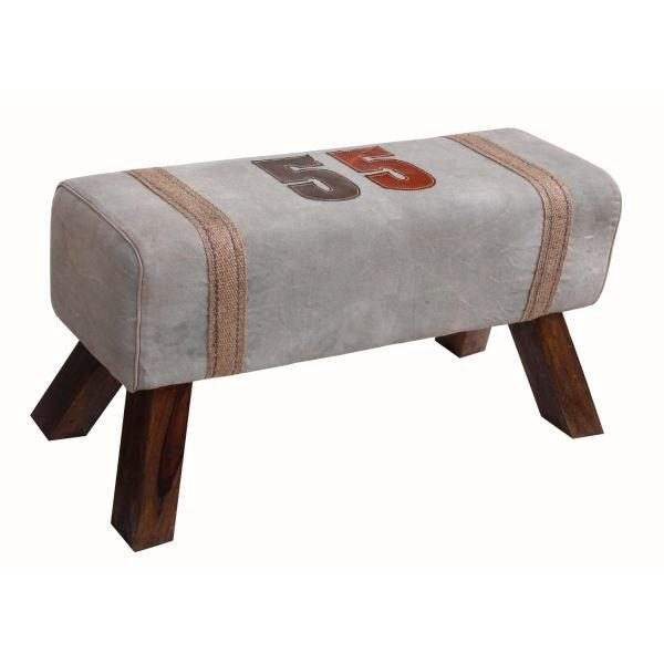 Handmade Long Stool For Living Room With Leather Strip Design