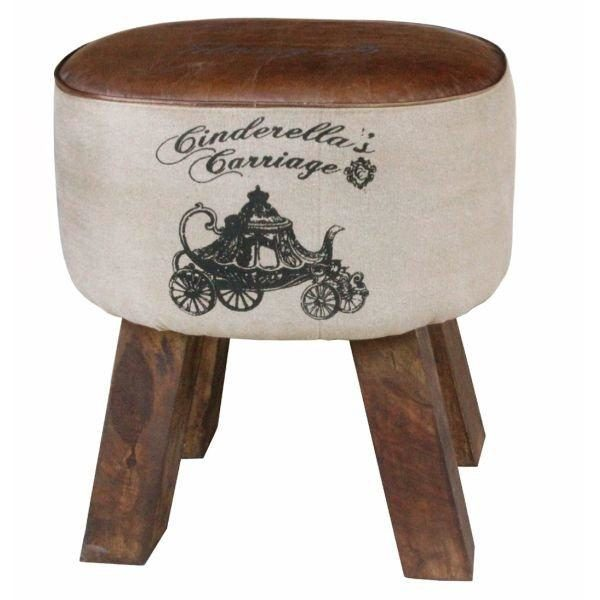 Handmade Stylish Oval Stool For Living Room With Leather Seat And Black Print