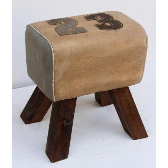 Handmade Cream Colored Canvas Stool With Numeric Design Of Leather