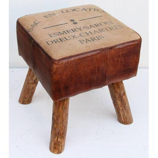 Handmade Stool Of Wooden Structure With Side Border Of Leather