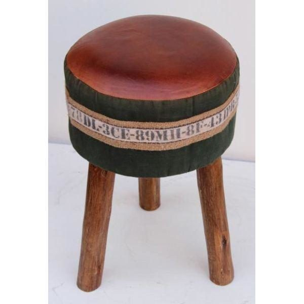 Handmade Stool With Leather Seat