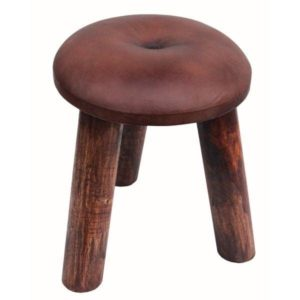 Dark Brown Handmade Leather Stool