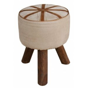 Handmade Stylish Strip Design Leather Stool