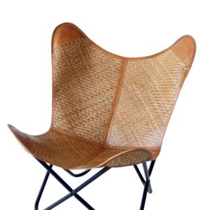 Handmade Bamboo Chatai With Leather Side Lining Butterfly chair