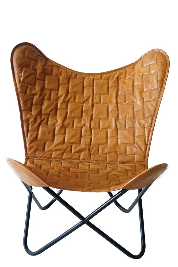 Hand-crafted Designer Leather Butterfly Chair
