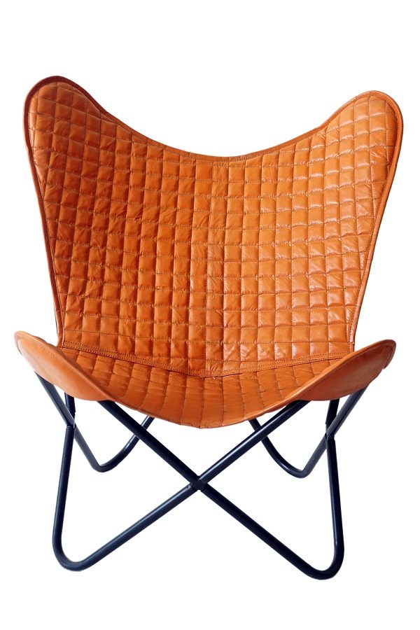 Handmade Small Cheks Leather Butterfly Chair