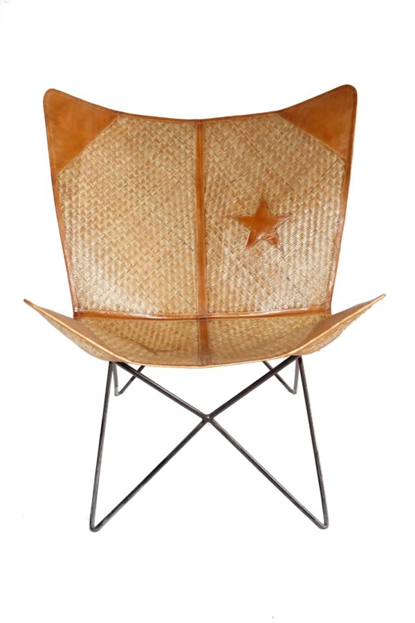 Handmade Stylish Star Designed Bamboo+Leather Butterfly Chair