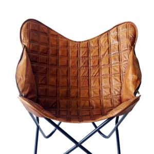Handmade Cheks Texture Stylish Wings Butterfly Chair