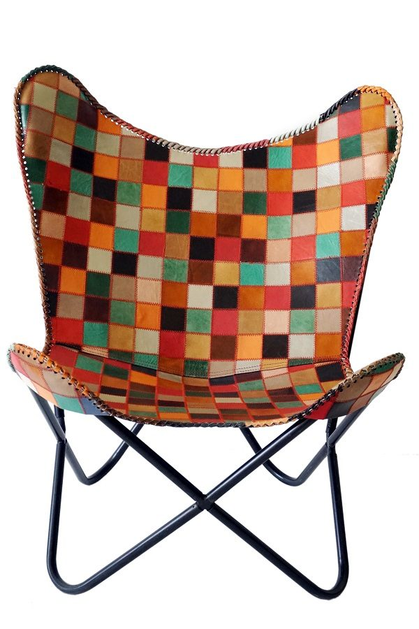 Handmade Multi colored Leather Chair