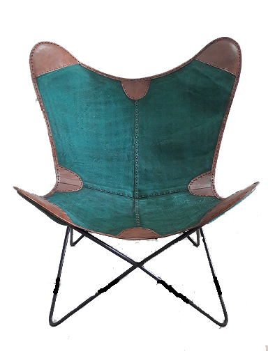 Handmade Designer Butterfly Chair Fusion of Leather & Canvas