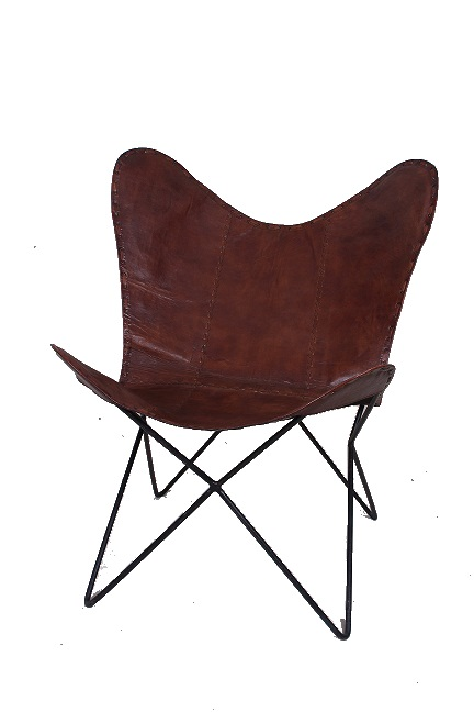 Handcrafted Leather Butterfly Chair With Designer Lining