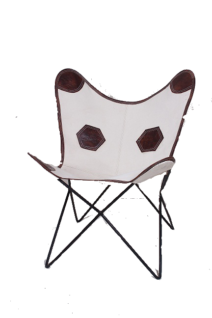 Handmade Designer Leather & Canvas Butterfly Chair