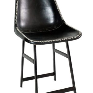 Handmade Royal Black Leather Chair