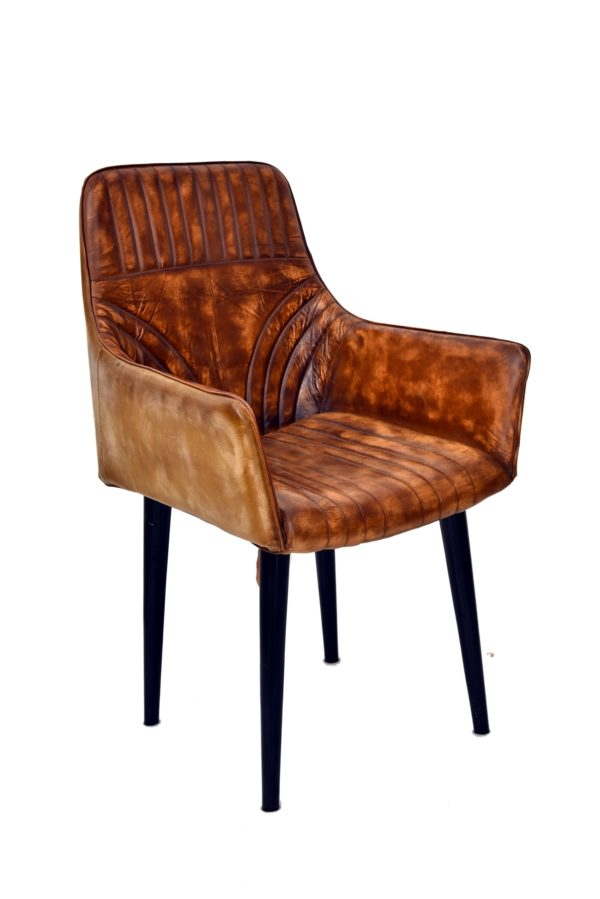 Handmade Leather Chair With Wooden Legs