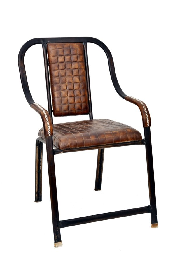 Handmade Leather Chair in Stylish Crocodile Pattern