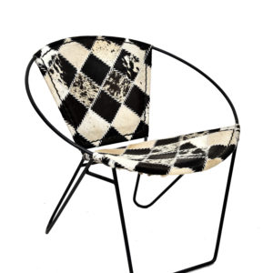 Handmade Black & White Hairon Leather Bucket Chair