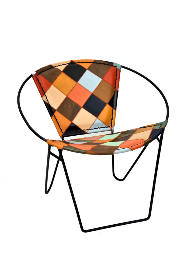 Handmade Multi-color Bucket Chair Of Leather