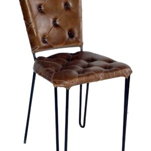 Handmade Chester Field Chair With Designer Straight Back Seat