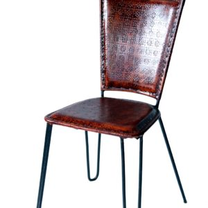 Handmade Leather Chair With Embossed Design