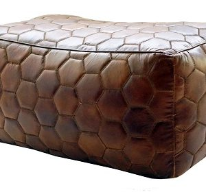 Handmade Leather Pouf With Hexagonal Design