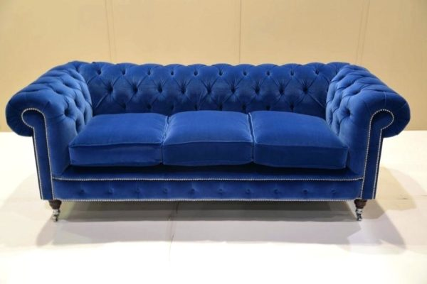 Handmade Three Seater Royal Blue Rolled Arm Sofa
