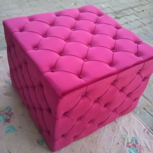 Handmade Pink Leather Box For Sitting With Storage Space