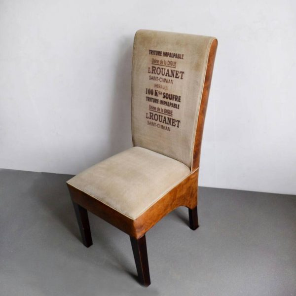 Handmade Leather+Canvas Comfortable Sitting Dinning Chair